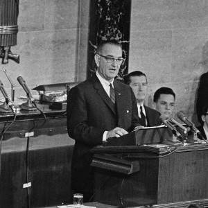 President Johnson launches the War on Poverty, January 8, 1964.