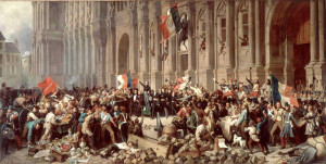 Lamartine in front of the Town Hall of Paris rejects the red flag on 25 February 1848.