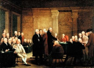 Congress Voting Independence, a depiction of the Second Continental Congress voting on the United States Declaration of Independence.