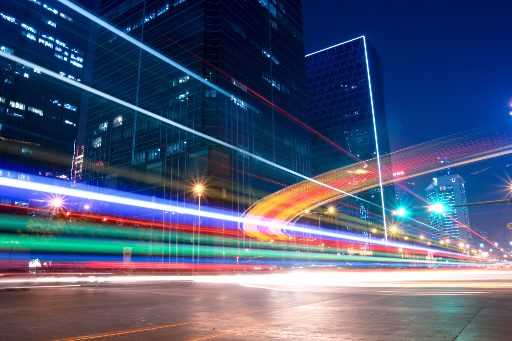light trails with blurred colors on the street