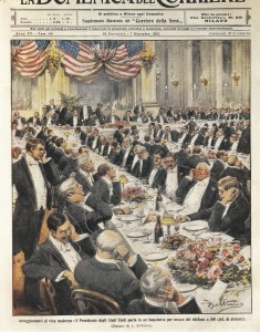 The President of the United States speaking by telephone at a distance of 500 kilometres. Illustration by Achille Beltrame on the Italian newspaper 'La Domenica del Corriere', November 20, 1913