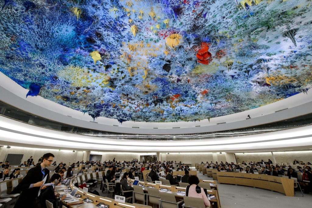 The UN Human Rights Council hears s recent report on the rights situation in the Palestinian territories occupied by Israel since 1967. (FABRICE COFFRINI/AFP/Getty Images)