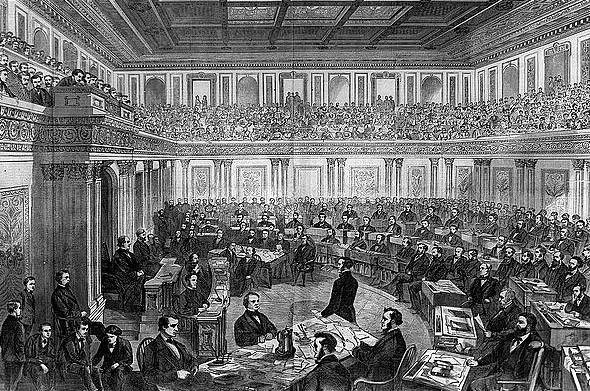 "The Senate as a Court of Impeachment for the Trial of Andrew Johnson,"" 1868."