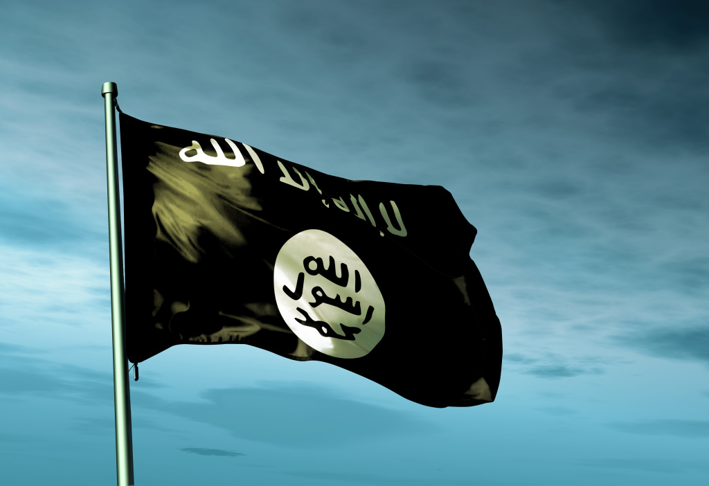 Islamic State flag waving on the wind